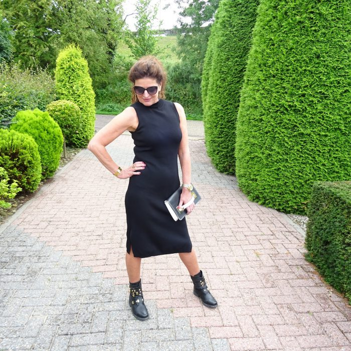 me in black dress and biker boots on Nancy's Fashion Style