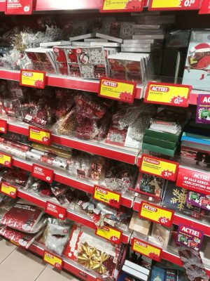 Christmas decorations at the drugstore