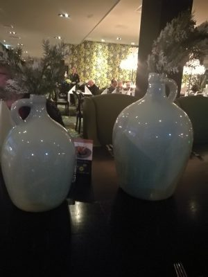 Two vases in a restaurant