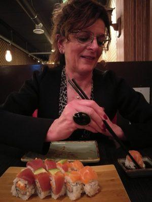 Me eating sushi