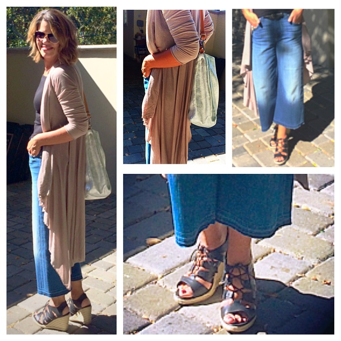 beige long cardigan on jeans
