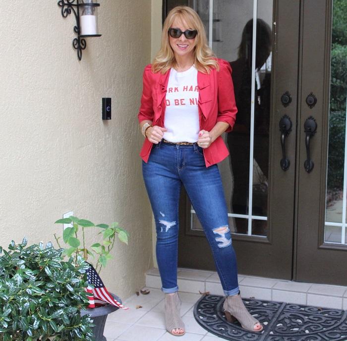 Fashion blogger in a red blazer
