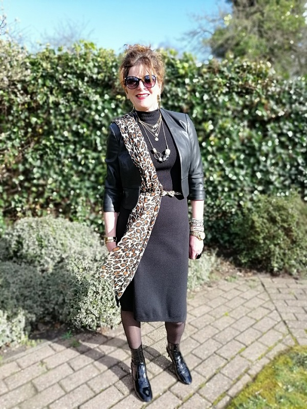 leopard scarf on black dress