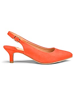 spring clothes, orange slingbacks