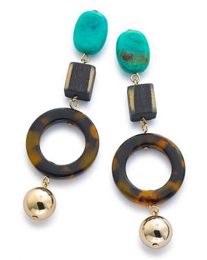 statement earrings in brown and blue