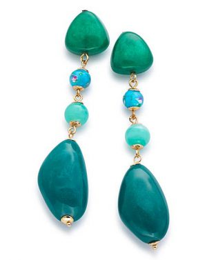 Statement earrings in blue and green