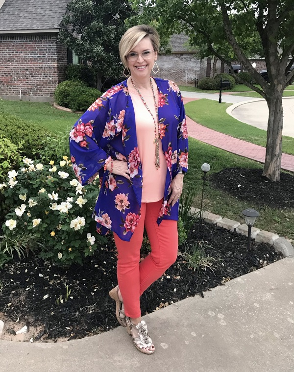 blue floral kimono on red trousers and pink tee