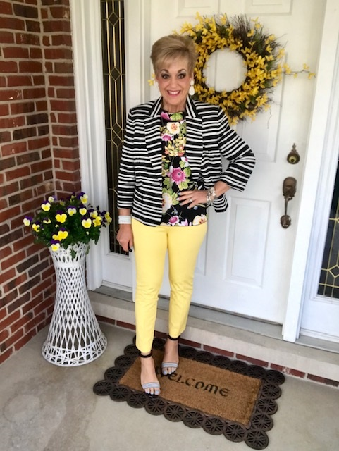 Floral top with yellow trousers