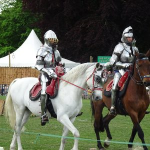 Knights on horses at Leeds Castle
