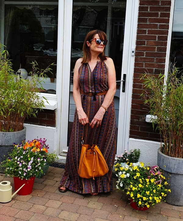 brown printed maxi dress