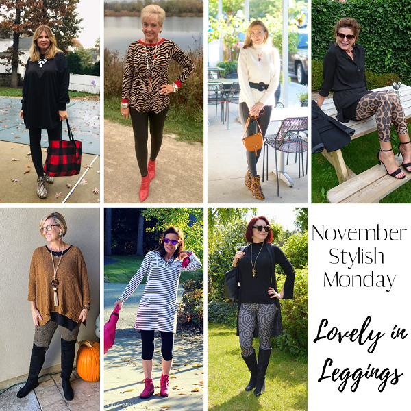 collage of fashion bloggers wearing leggings