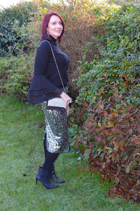 festive outfit with a glitter skirt