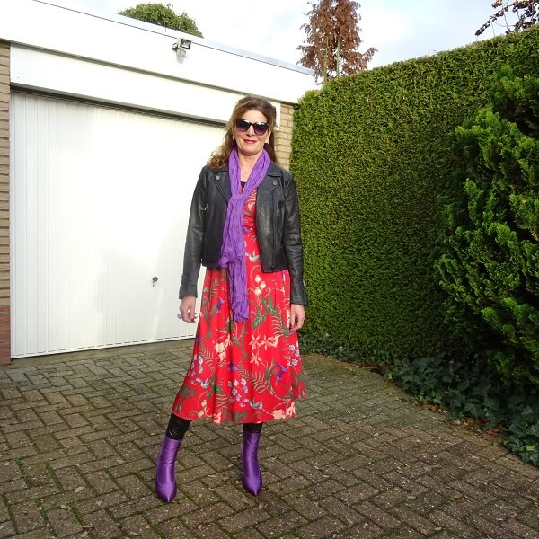 lilac and red and leather