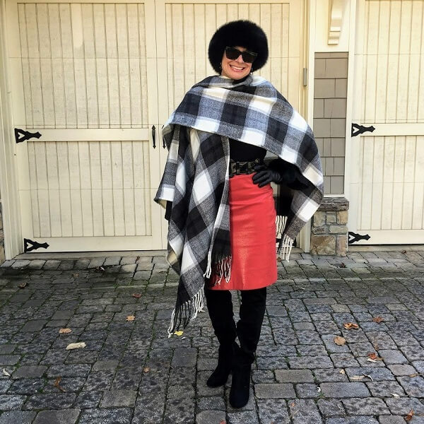 Cozy Chic in a black and white poncho