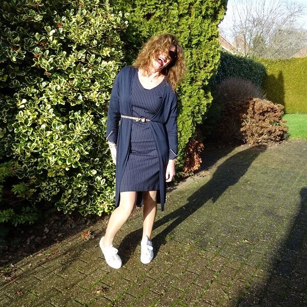 pinstripe dress and sneakers