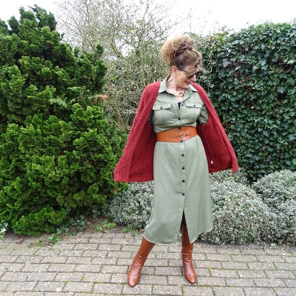 olive green and rust outfit