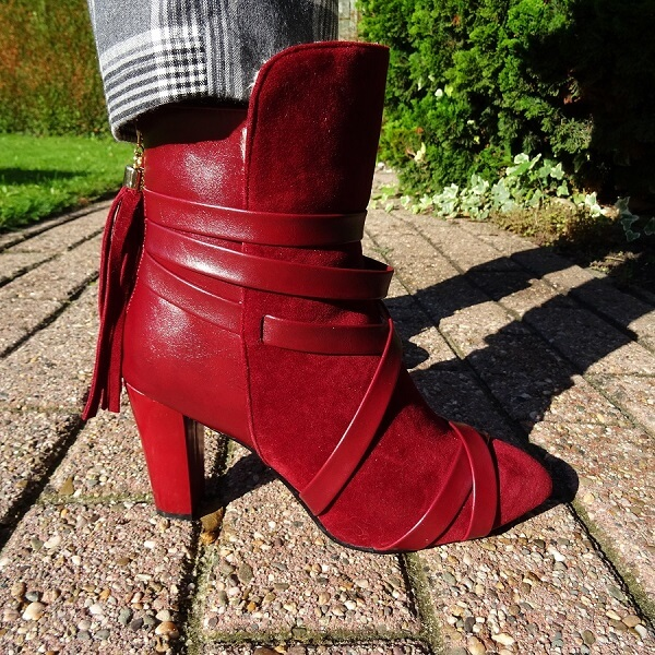 burgundy ankle boots with tassels