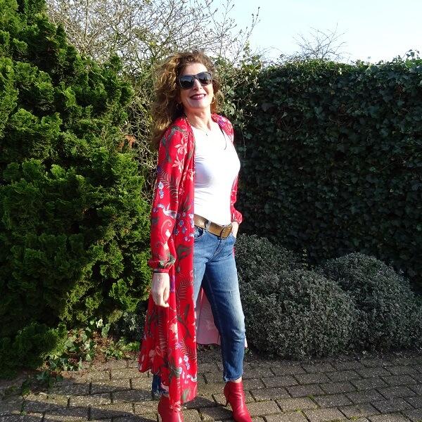 kimono style and jeans