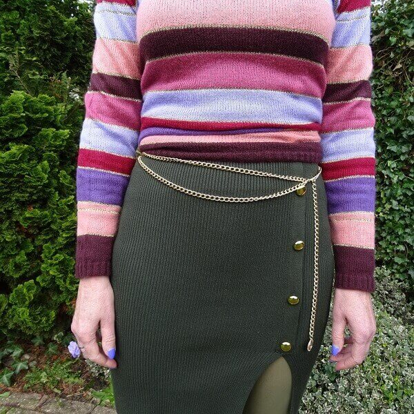 green and purple outfit without thinking
