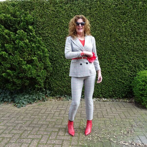 pink and red trouser suit