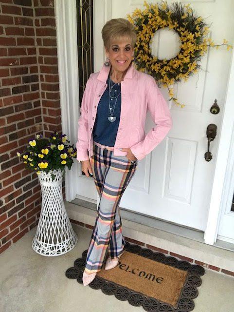 pink denim jacket