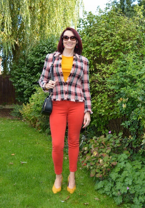 red/orange colored denim