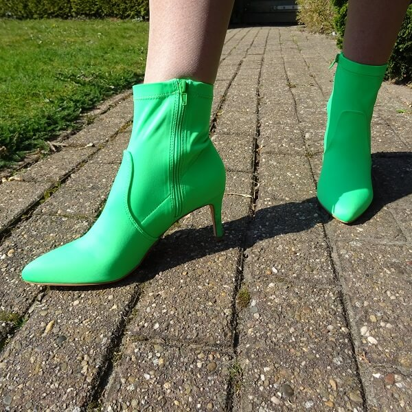 neon green ankle boots