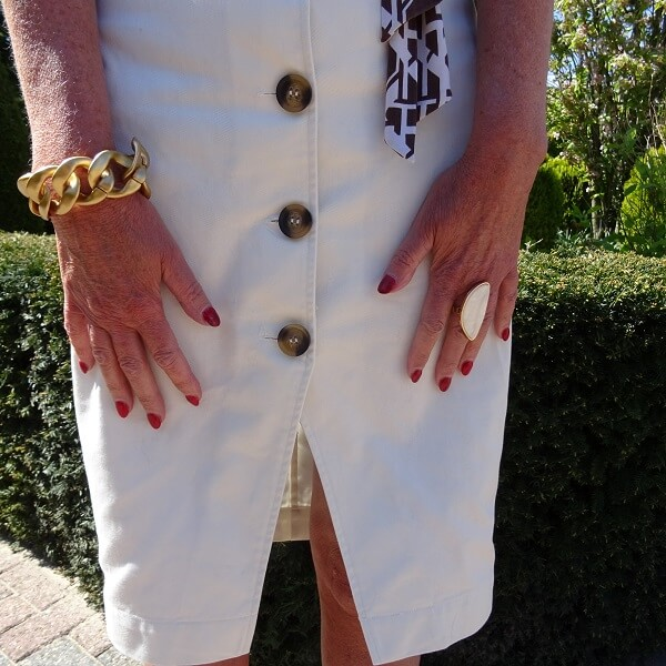 statement bracelet and white ring