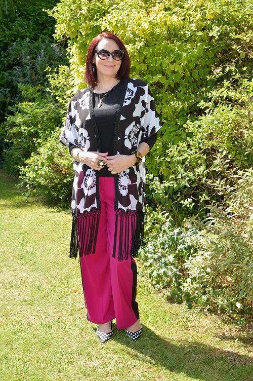 black and white kimono style