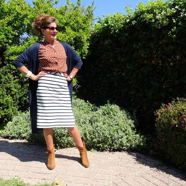 Striped Skirt & Polka Dot Blouse & Fancy Friday linkup
