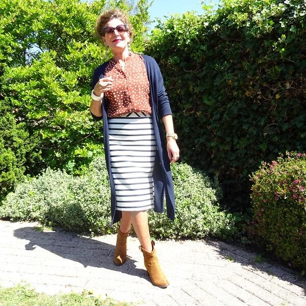striped skirt and polka dot blouse