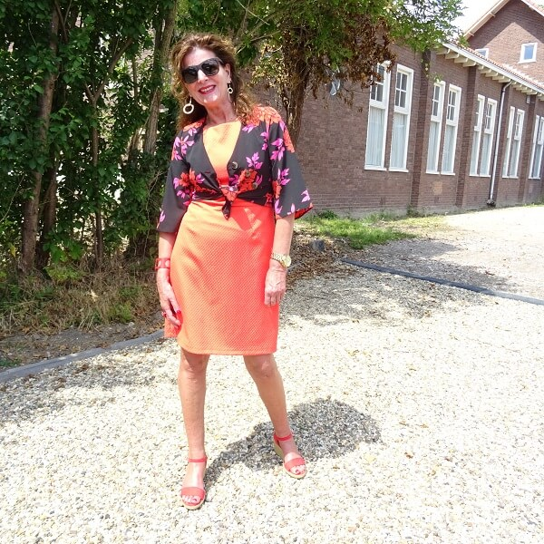 orange dress and red espadrilles