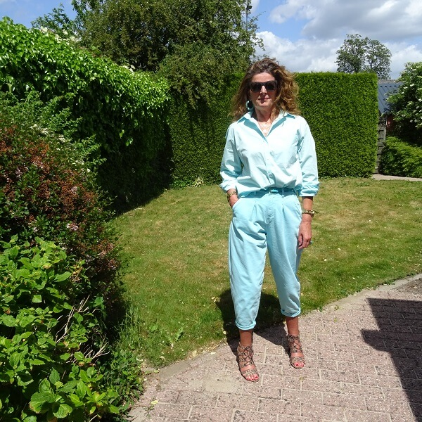 pastel blue blouse and balloon trousers