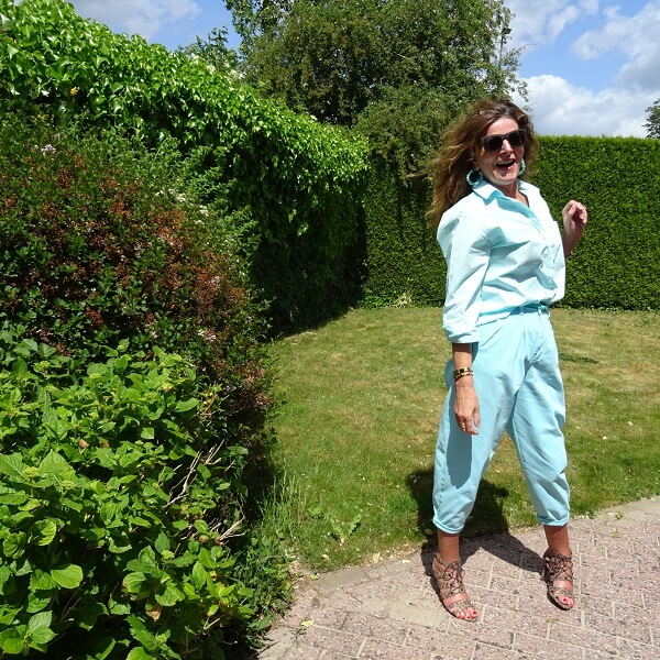 leopard heeled sandals and balloon trousers