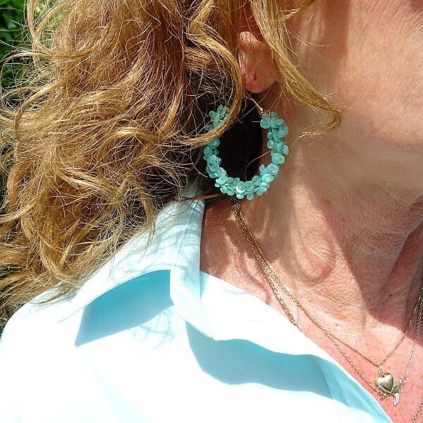 blue/green loop earrings