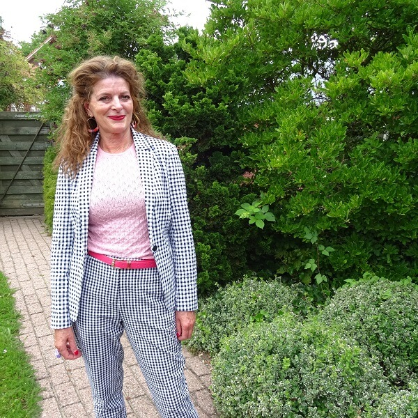 gingham blazer and trousers