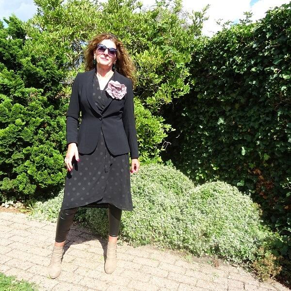 patent leggings under a dress