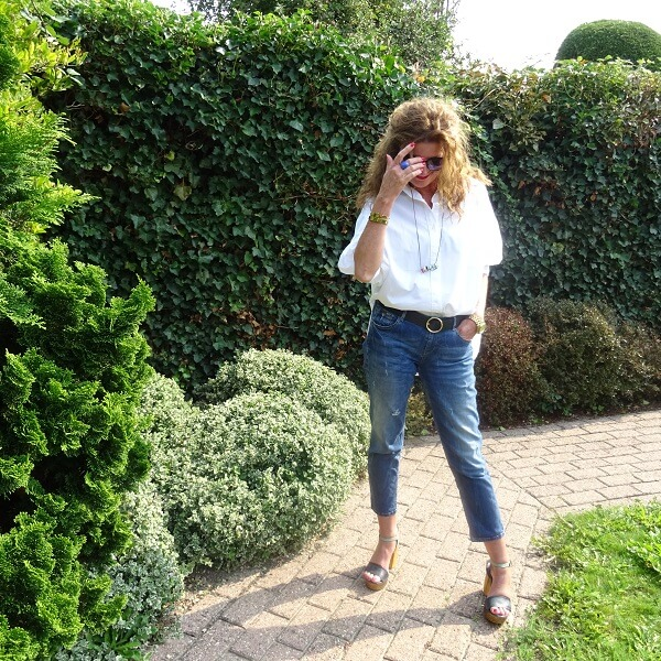 classsic style denim and blouse