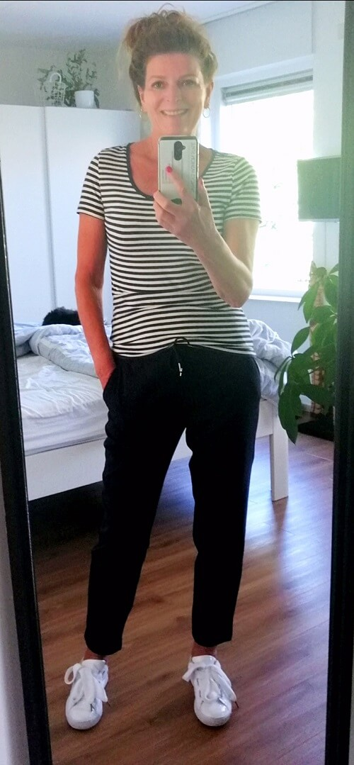 joggers and striped tee