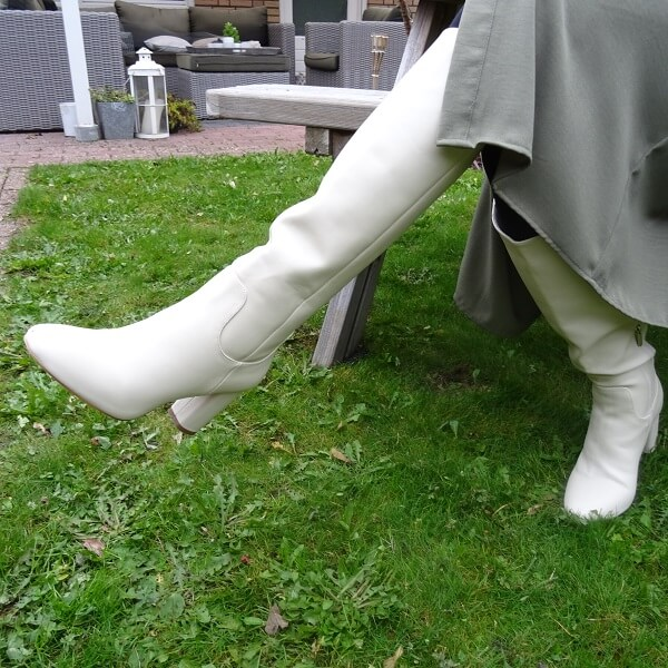groovy white boots