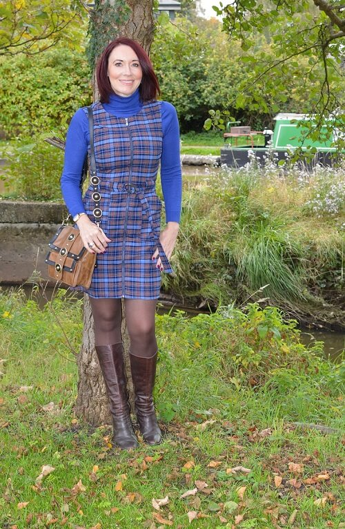 checked dress in brown and blue