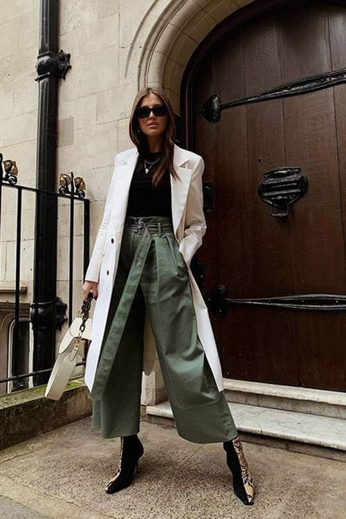layering for fall wide legged trousers