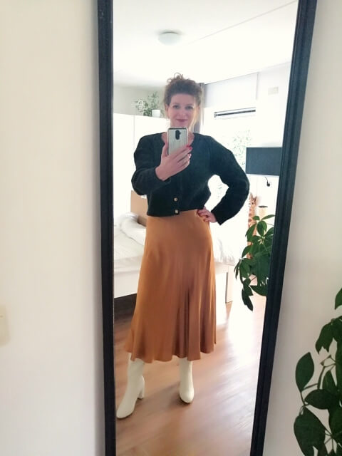 silky skirt and wool cardigan