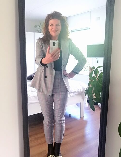 checked trouser suit