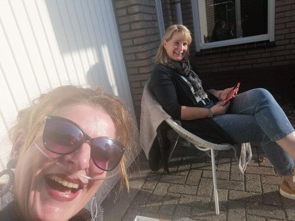 enjoying the sun with girlfriend