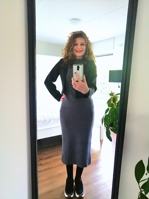 knitted grey dress