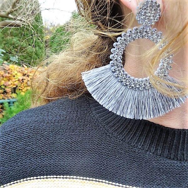 grey statement earrings