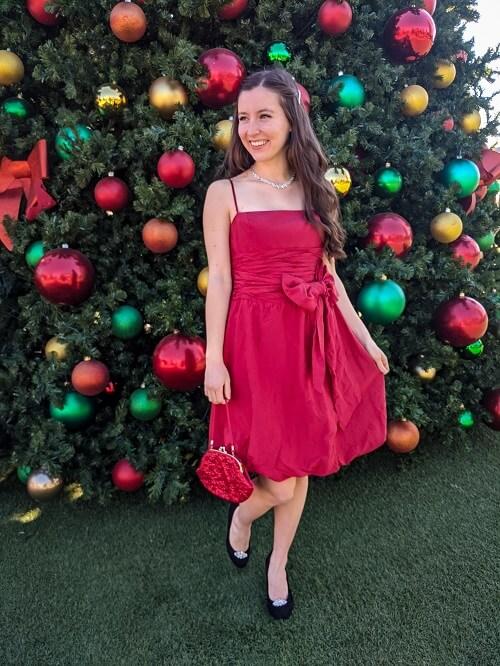 festive red dress