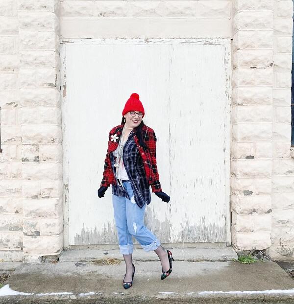 red tartan jacket
