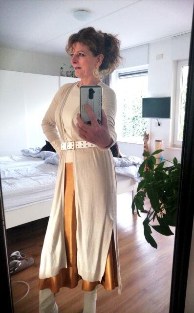 satin skirt and long cardigan
